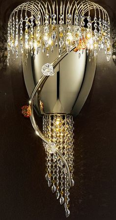 Divina gold wall light with Murano glass flowers, £1,469.52. For more information please visit: http://www.italian-lighting-centre.co.uk/modern/divina-gold-wall-light-with-murano-glass-flowers-p-4004.html
