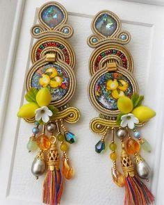 Soutache Necklace, Tassel Earrings, Drop Earrings, Statement Jewelry, Boho Jewelry, Fashion Jewelry, Jewellery, Shibori, Beaded Embroidery
