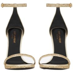 Pre-owned Saint Laurent Classic Jane Glitter Ankle Strap Gold Sandals (5.855 NOK) ❤ liked on Polyvore featuring shoes, sandals, gold, dressy sandals, ankle strap shoes, famous footwear, gladiator sandals and gold high heel sandals