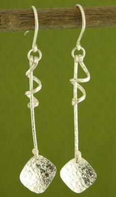 Sterling Drizzle Earrings handmade by Garden of Silver.