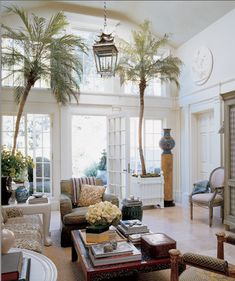Michael S. Smith - Elle Decor - for lthe use of palm trees in the house! nice, nice idea