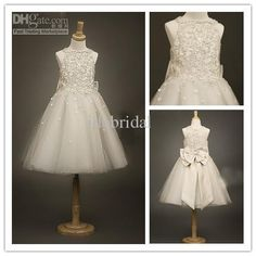 Cute Ivory Beads Bow Tulle Girl'S Formal Occsion Dress Flower Girl Dress Flower Girl White Dresses Flowers Girls Dresses From Idobridal, $90.76| Dhgate.Com