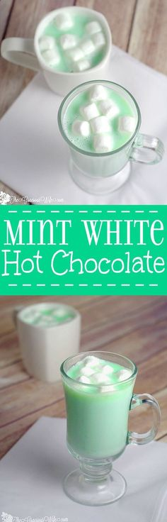 Homemade Mint White Hot Chocolate is a fast and easy homemade hot chocolate recipe made with white chocolate and mint! creamy, white chocolate with a burst of peppermint flavor to create a perfect decadent Christmas, winter, St. Patricks Day, or holiday treat. Yum! Definitely making this ASAP!