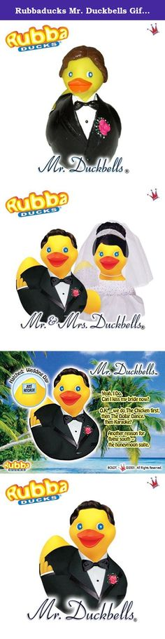 """Rubbaducks Mr. Duckbells Gift Box. Mr. Duckbells, Rubba Duck in its Gift Box. The handsome groom duck, is wearing a textured traditional black tux, corsage and bow tie, complete with a 3 dimensional """"Just Hitched"""" sign tattoo on its tail feathers. Hatched: Wedding Day Tag Line: Ring wear'n Mr. Duckbells Bio: Yeah, I Do. Can I kiss my bride now? O. K. - we do The Chicken first, then The Dollar Dance, then Karaoke? Another reason for flying south - the honeymoon suite."""