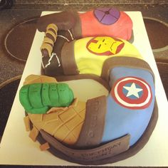 Number 5 shaped Avengers cake!