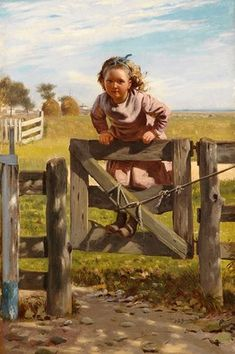 """""""Swinging on the Gate"""" by John George Brown in The Angels and Tomboys exhibition at the Crystal Bridges Museum"""