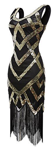 eforpretty Women's V Neck Sequined Beaded Embellishment Gatsby Flapper Dress(Gold,L) Vintage Dresses, Vintage Outfits, Vintage Fashion, Flapper Style, Gatsby Style, 1920s Dress, Cool Costumes, Dream Dress, Swagg