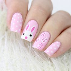 Fun nail ideas for Easter. Check out the bunny nails, polka dots, pastel and ombre Easter nail art designs. Easter Nail Designs, Easter Nail Art, Nail Designs Spring, Nail Art Designs, Nails Design, Simple Nail Designs, Hair And Nails, My Nails, Blue Nails