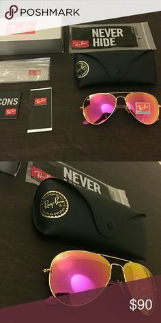 Pink and gold rayban aviator sunglasses size 58 Brand new and never worn sunglasses Size 58 Comes with everything in the pictures Ray-Ban Accessories Sunglasses