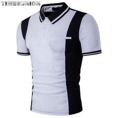 european style black and white hit color polo shirt men lapel short sleeved  polo homme de 7a1be54638214