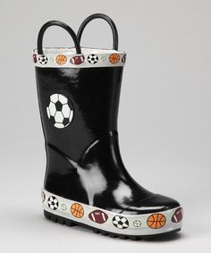 Take a look at this Black Soccer Rain Boot by Laura Ashley on #zulily today!