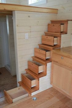 A themed tiny house on wheels in Brevard, North Carolina. Designed and built by Brevard Tiny House.: A themed tiny house on wheels in Brevard, North Carolina. Designed and built by Brevard Tiny House. Tiny House Stairs, Tiny House Living, Tiny House Plans, Tiny House On Wheels, Loft Stairs, Basement Stairs, House Staircase, Loft House, Spiral Staircase