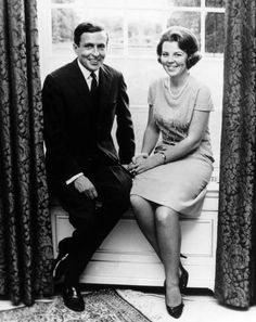 Princess Beatrix and her fiancé, Claus Von Amsberg on the day of their announcement of the date of their wedding