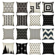 Cushion Cover Black White Pattern Pillowcase Cotton Linen Printed Geometry Euro Geometric Pillow Covers. Yesterday's price: US $2.10 (1.81 EUR). Today's price: US $2.10 (1.84 EUR). Discount: 33%.