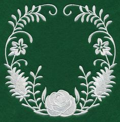 Woodland Whitework Wreath design (L4708) from www.Emblibrary.com