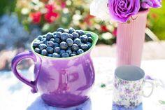 #berries #blueberries #flowers #food #fruits #mug #purple #vase