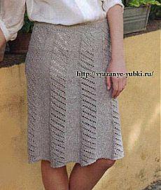 Вязание юбки с кокеткой спицами