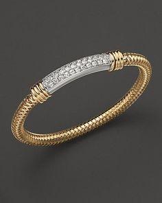 Bracelets Ideas : Roberto Coin Yellow and White Gold Primavera Diamond Bracelet Fine Jewelry Gold Bangle Bracelet, Diamond Bracelets, Diamond Jewelry, Gold Jewelry, Jewelry Bracelets, Jewelry Accessories, Fine Jewelry, Jewelry Design, Men's Jewellery