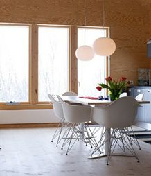 Modern interior in white, compact and convenient. Heat added imported plywood boards, wooden walls and ceilings. Plywood Walls, Wooden Walls, Modern Interior, Interior Design, Cabin Design, Dining Area, Dining Tables, Architecture, Furniture