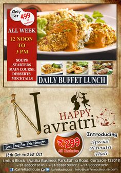 Caffe Mad House​  always have something New to offer, the one's fasting and wondering what to eat, we have Navratri thali just for you and with our regular buffet lunch. ‪#‎buffetLunch‬ ‪#‎BusinessLunch‬ ‪#‎NavratriThali‬ ‪#‎Navratri‬
