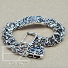 Unique Heavy Thai Silver Cross link Bracelets Men's jewelry Vintage Style about 925 Sterling Silver Bracelet Bracelets For Men, Link Bracelets, Fashion Bracelets, Bracelet Men, Chain Bracelets, Bracelet Clasps, Necklaces, Sterling Silver Cross, Sterling Silver Bracelets
