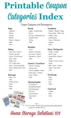 Coupon Categories And Subcategories For Organizing Coupons Free printable oupon categories index, which you can use in your coupon binder as table of contents {courtesy of Home Storage Solutions How To Start Couponing, Couponing For Beginners, Couponing 101, Extreme Couponing, Ways To Save Money, Money Saving Tips, Money Savers, Money Hacks, Saving Ideas