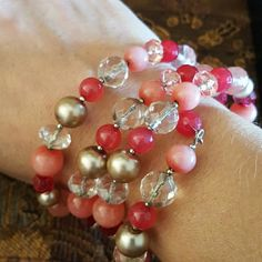 Rose tone beaded spiral bracelets This multi rose tone bracelet, has very pretty shine crystal beads. Because it's spiral you can adjust it higher on your arm.   ? Firm Price? Jewelry Bracelets