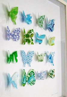 Fabric butterflies.  Would hang them individually in girls's bathroom?
