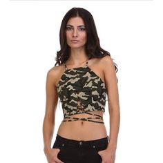 Military Print Crop Top  Military print crop top. Super cute to wear for the warmer weather coming up! 100% cotton! Can be worn just like the model pictured above! ❤️ (pictures courtesy of tea n cup) Tea n Cup Tops Crop Tops