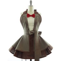 Bowtie & Pinstripes Costume Apron ($89) ❤ liked on Polyvore featuring dresses, doctor who, aprons, grey, home & living, kitchen & dining and linens