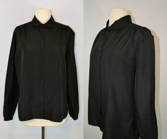 1960s Jet BlackButton Up Long Sleeve by KrisVintageClothing