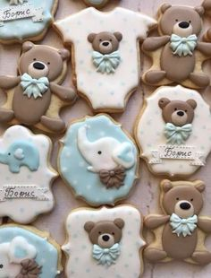 49 Super Ideas For Baby Shower Elefante Galletas Baby Boy Cookies, Teddy Bear Cookies, Baby Shower Cookies, Cute Cookies, Teddy Bears, Galletas Decoradas Royal Icing, Galletas Decoradas Baby Shower, Cookies Decorados, Teddy Bear Baby Shower