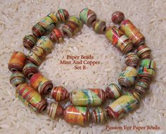 Paper Beads Mint And Copper Set B by PassionForPaperBeads on Etsy