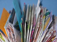 Upcycling: Notizhalter aus Katalog oder kleiner Kladde ~ holder for notes, note clip