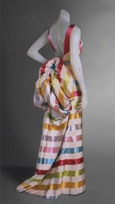 Elsa Schiaparelli two-piece evening dress of striped silk satin and faille, summer 1939 (via omgthatdress)
