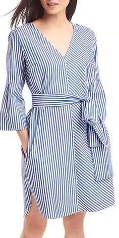 stripe front tie dress