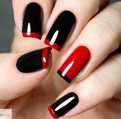 model de unghii negru cu rosu