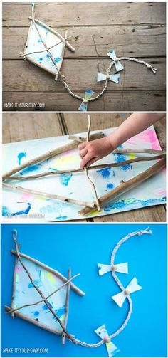 hello, Wonderful | Creative Living With Kids You saved to DIY - Crafts and Activities for Kids Kid-Made Driftwood Kite. Collect sticks with the kids and make a beautiful painted and beaded kite. Cute summer craft. Easy Kids Art Projects, Easy Art For Kids, Outdoor Fun For Kids, Crafts For Kids To Make, Easy Arts And Crafts, Diy Crafts For Gifts, Summer Crafts, Sock Crafts, Kid Crafts