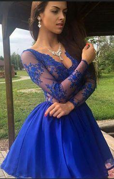Fashion v neck back dress, long sleeve homecoming
