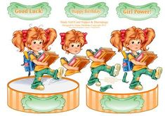 Study Girl Shaped Card Topper with Decoupage on Craftsuprint - Add To Basket!