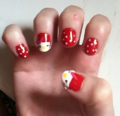 Reader Alexi T. showed us her adorable Hello Kitty mani! #nailart