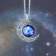 Women's Galaxy Star Moon Time Gem Necklace