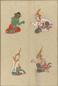 4 figures : gods and demons Artist Painting, Illustration, Traditional Tattoo, Culture Art, Traditional Paintings, Modern Graphic Art, Watercolor Sketch, Thai Art, Interesting Art