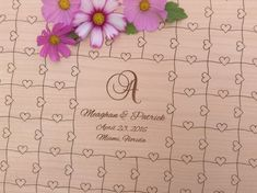 CUSTOM Wedding Guest Book Puzzle with Heart tabs 100 Pieces Engraved with your Custom text. Choose from any pictured design, or request your