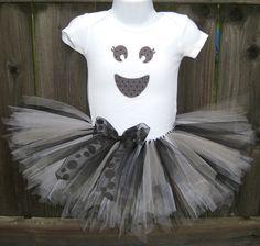 Baby Girl Halloween Ghost Tutu Set  Girly Ghost Onesie by Zobows, $39.00