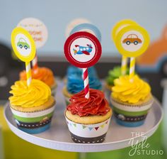 Transportation Cupcake Toppers Transportation Party Circles