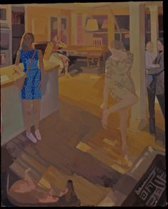 "Susan Lichtman, Blue Dot Dress Interior, oil on canvas, 44X35"""