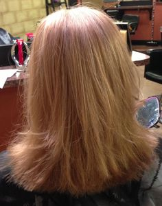 Shoulder length haircut with soft layers and blonde highlights. | @hair_by_laurasteiner
