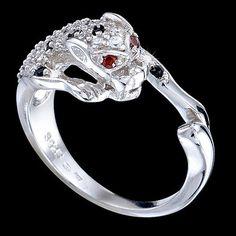 Silver ring, zirconia, puma