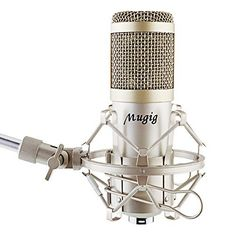 Mugig Condenser Microphone, Professional Broadcasting Recording Microphone Kit & Adjustable Microphone Suspension Scissor Arm Stand with Shock Mount and Mounting Clamp Kit Microphone For Recording, Recording Studio Equipment, Phantom Power, Recorder Music, You Sound, Magnifying Glass, Led, Musical Instruments, Metal